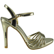Rivka Gold Peep toe Wedding Sandals