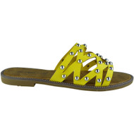 Ayleen Yellow Studded Slip On Sliders