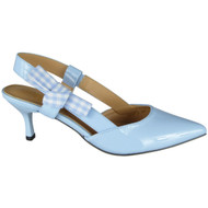 Patty Blue Patent Kitten Heel Shoes