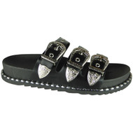 Caren Black Buckle Studded Sliders