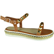 Hilly Camel Peep-toe Wedge Sandals