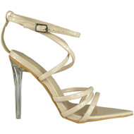 Madison Beige Perspex Heel Sandals