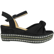 Eleanor Black Sling Back Wedge Sandals