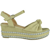 Eleanor Beige Sling Back Wedge Sandals