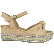 Eleanor Pink Sling Back Wedge Sandals