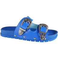 Baisley Blue Flat Buckle Sliders