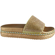 Filla Champagne Summer Bling Studded Sliders