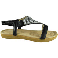 Diana Black Comfy Strap Summer Sandals