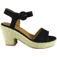 Hylda Black Wedge Summer Sandals