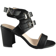 Irma Black Peep-Toe Party Sandals