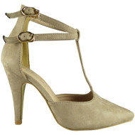 Selmie Beige High Heel Party Sandals