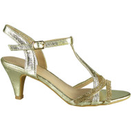 Nabby Gold T Bar Party Shoes