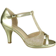 Glenda Gold Glitter Party Shoes
