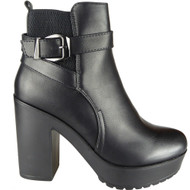 Cammie Black Chelsea Buckle Ankle Shoes
