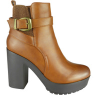 Cammie Camel Chelsea Buckle Ankle Shoes