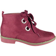 Faigy Red Lace Up Ankle Boots