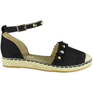 Cheri Black Studded Summer Sandals