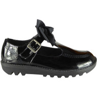 Sindy Black Patent Office School Shoes