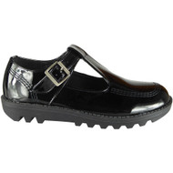 Sindy T Bar Black Patent Office School Shoes