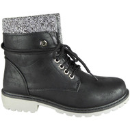Crys Black Ankle Combat Creepers Grip Shoes