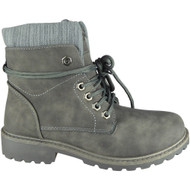 Crys Grey Ankle Combat Creepers Grip Shoes