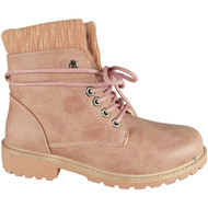 Crys Pink Ankle Combat Creepers Grip Shoes