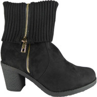 Hatty Black  High Ankle Mid Calf Shoes