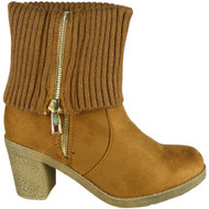 Hatty Camel  High Ankle Mid Calf Shoes