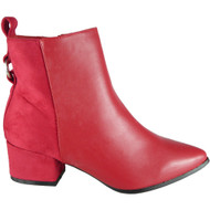 Cesca Red Mid Heel Pointy Chelsea Shoes
