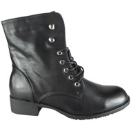 Flossie Black Fashion Combat Shoes