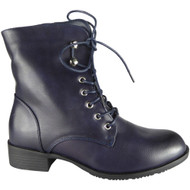 Flossie Blue Fashion Combat Shoes