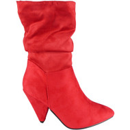 Marge Red Mid Calf Rouched Fashion Shoes