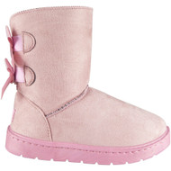 Frannie Pink Warm Comfy Flat Ankle Bow Shoes