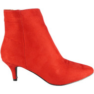 Zonish Red Low Heel Pointy Casual Shoes