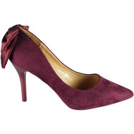 Janey Maroon Pointy Court Casual Bow Shoes