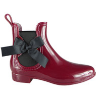 Janette Wine Wellington Bow Rain Shoes