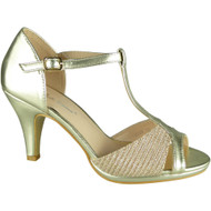 """OSMA"" Gold  Bridesmaid Kitten Heel Sandals"