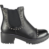 Bessie Black  Studded Goth Gusset Fashion Shoes
