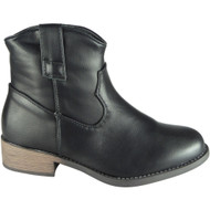 Adie Black Low Heel Cowboy Casual Shoes