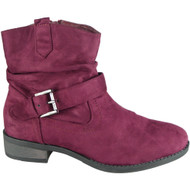 Adela Wine Winter Pixie Buckle Casual Shoes
