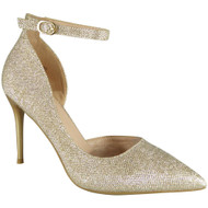 Alexandria Gold Wedding Bridesmaid Glitter High Heel Sandals
