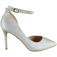 Alexandria Silver Wedding Bridesmaid Glitter High Heel Sandals