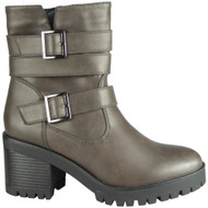 Angie Grey Chunky High Heel Buckle Shoes