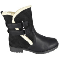 Berta Black Ankle Winter Warm Fleece Velcro Shoes