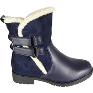 Berta Blue Ankle Winter Warm Fleece Velcro Shoes