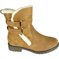 Berta Camel Ankle Winter Warm Fleece Velcro Shoes