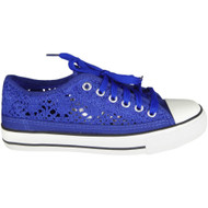 Carlo Blue Lace Up Flat Comfy Fitness Shoes