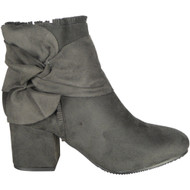 Birdie Grey Tassle Low Cuban Heel Ankle Bow Boots