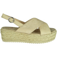 Karoline Beige Hessian Wedge Grip Sole Sandals