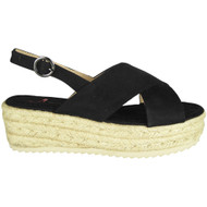 Karoline Black Hessian Wedge Grip Sole Sandals
